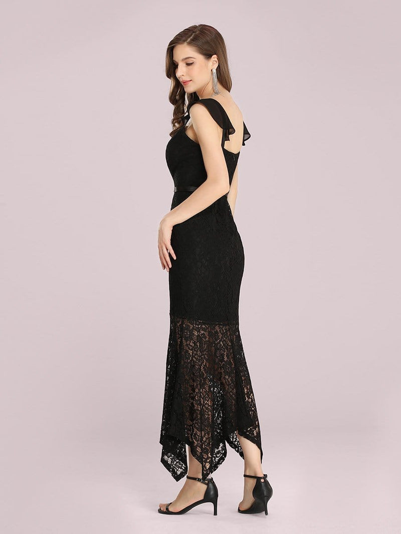 Elegant Casual Tea-Length Lace Bodycon Party Dress-Black 2