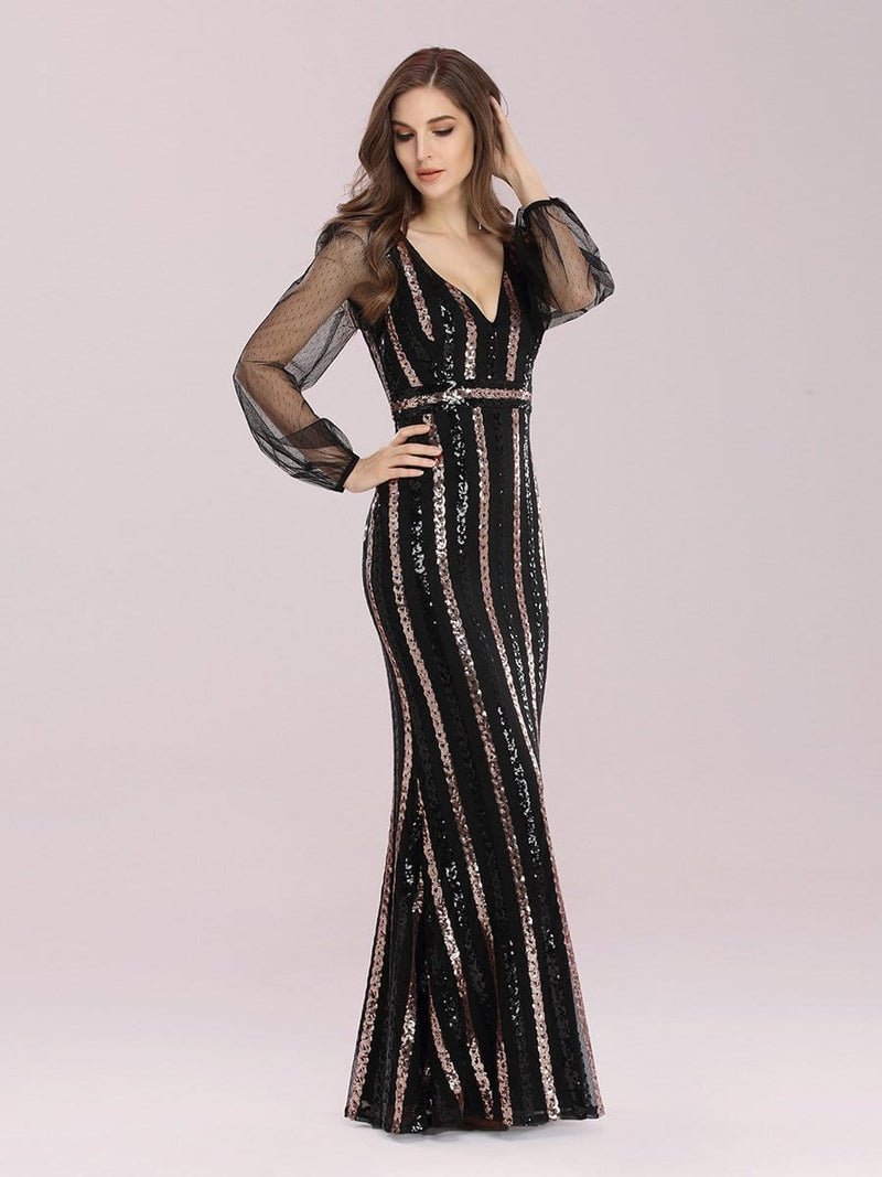 Shiny Mermaid Sequin Evening Dress With See-Through Sleeves-Black 3