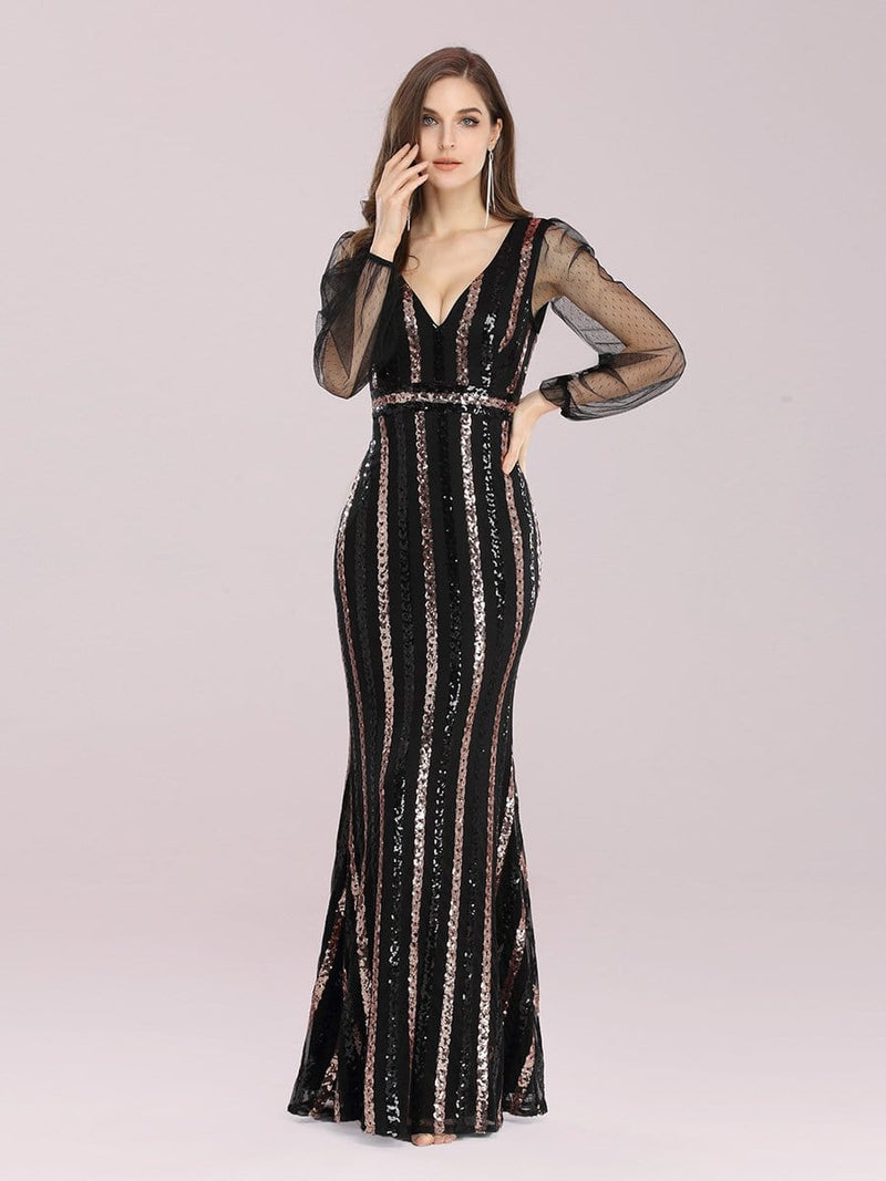 Shiny Mermaid Sequin Evening Dress With See-Through Sleeves-Black 1