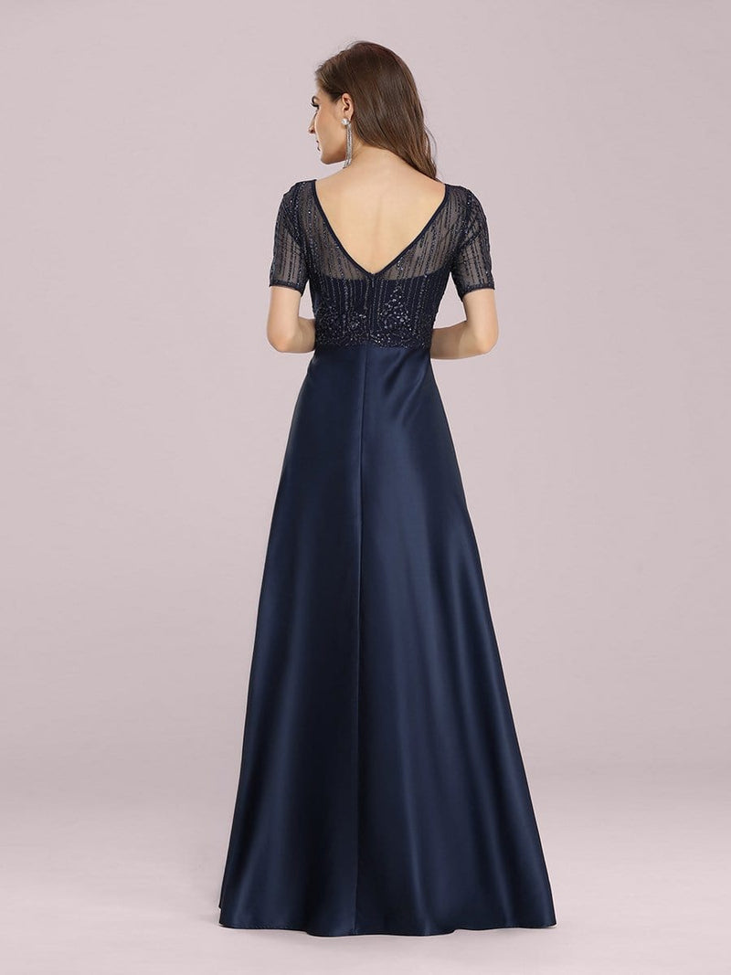 Modest Deep V Neck Maxi Evening Dress With Appliques-Navy Blue 2