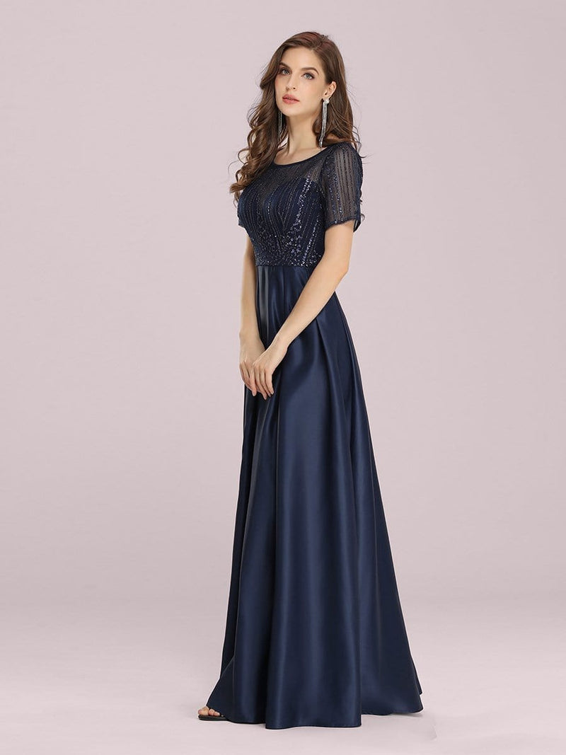 Modest Deep V Neck Maxi Evening Dress With Appliques-Navy Blue 3