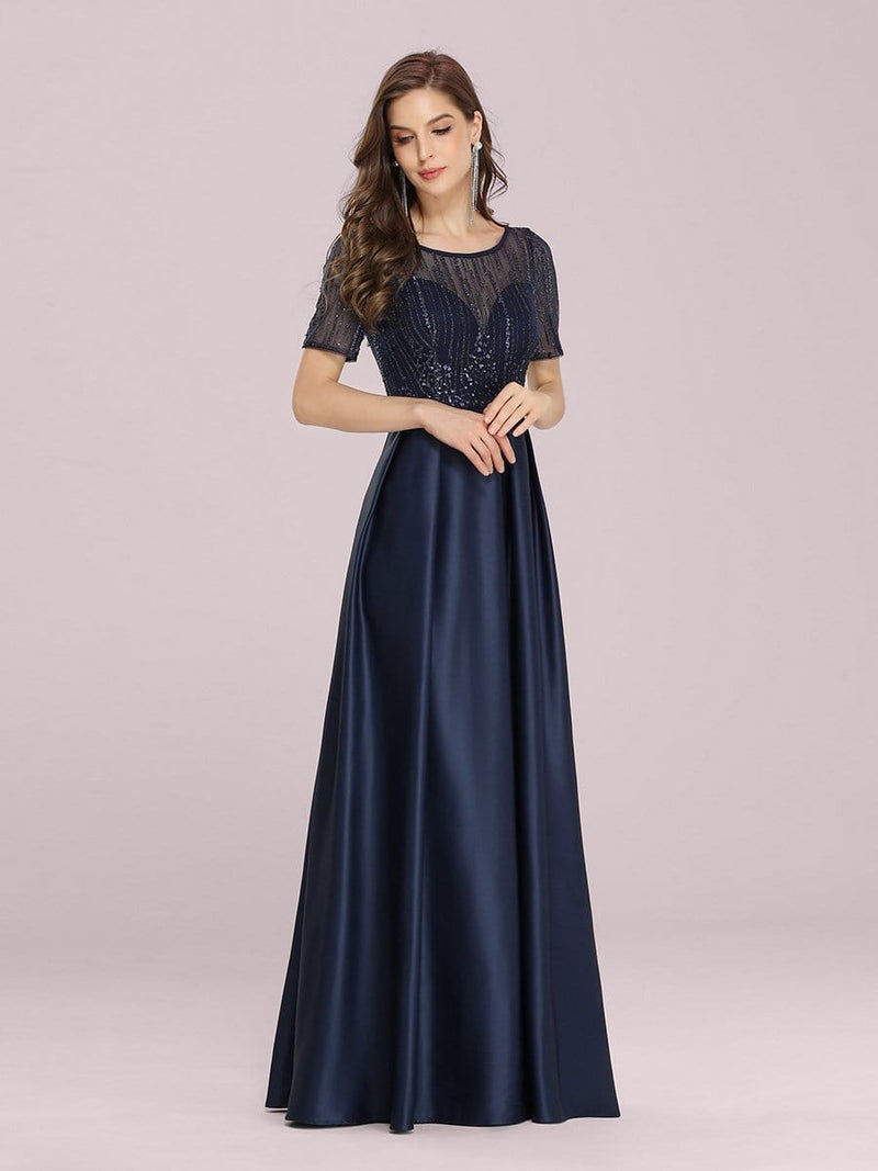 Modest Deep V Neck Maxi Evening Dress With Appliques-Navy Blue 4