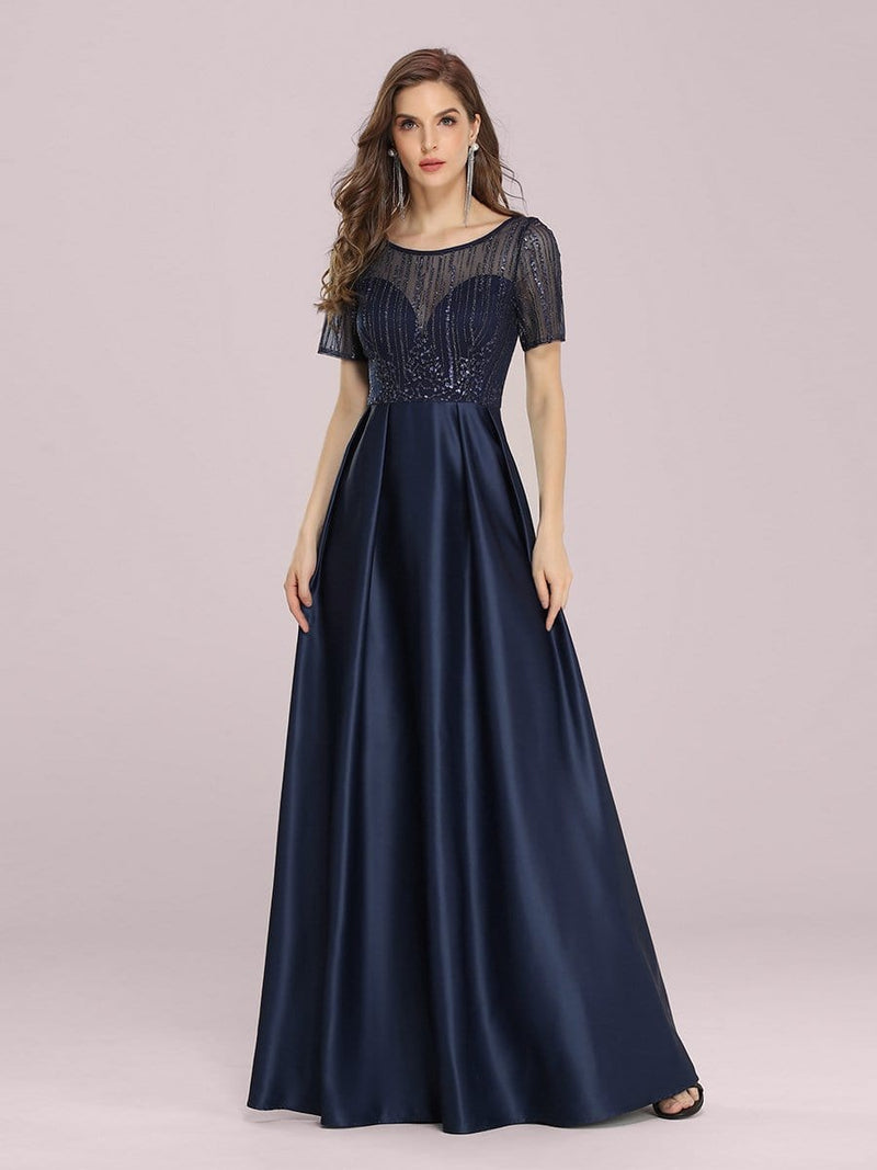 Modest Deep V Neck Maxi Evening Dress With Appliques-Navy Blue 1