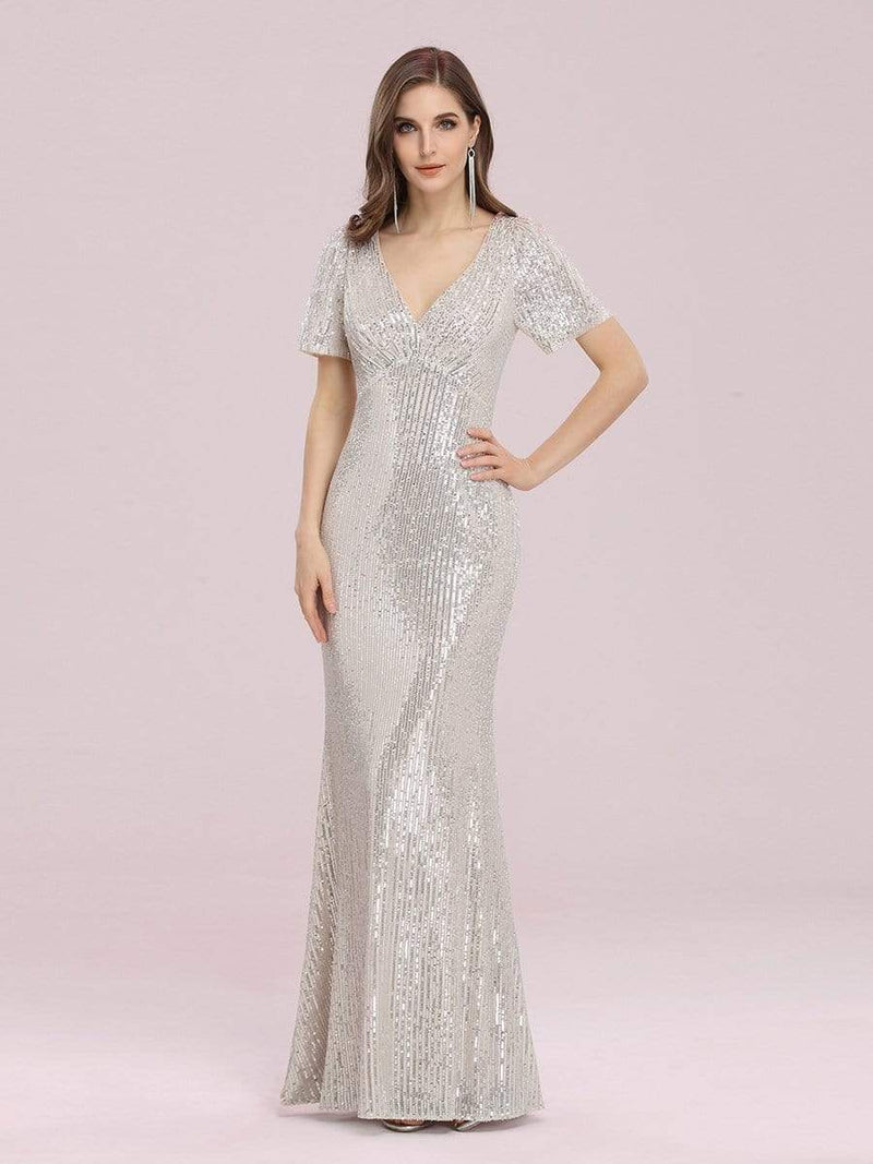 Women'S Sexy Sequin Bodycon Evening Dress With Short Sleeves-Rose Gold 1
