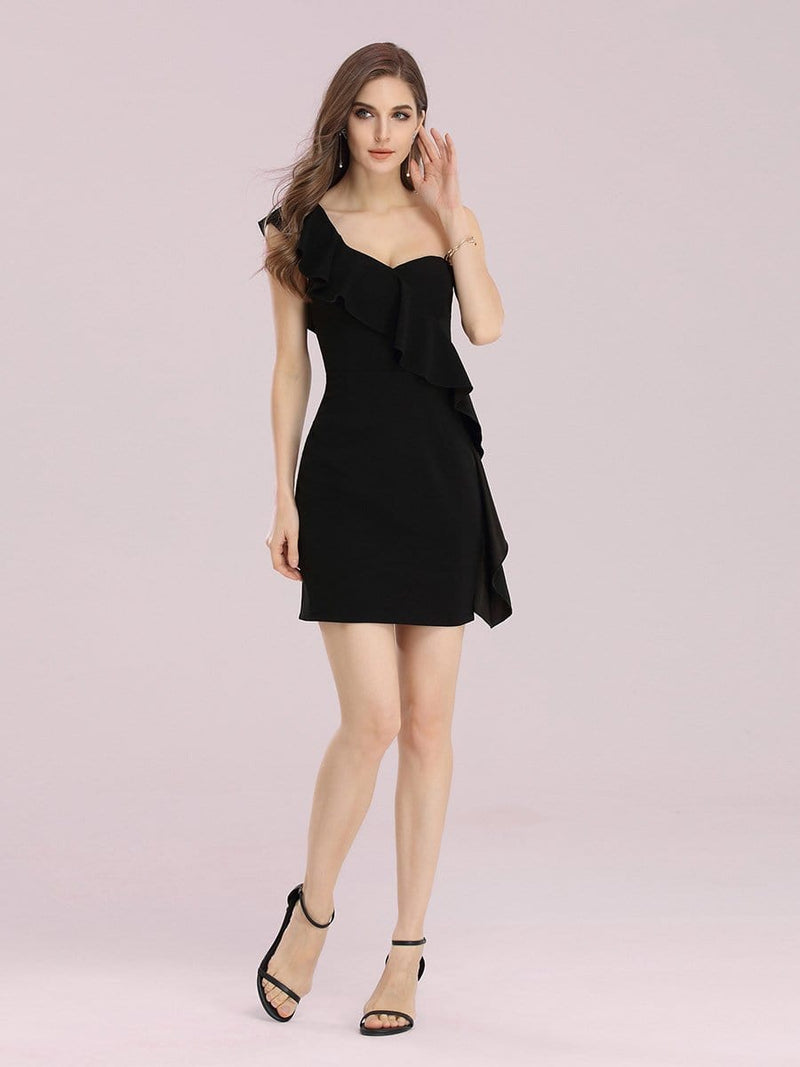 Sexy One Shoulder Short Mini Cocktail Dress With Ruffles-Black 3