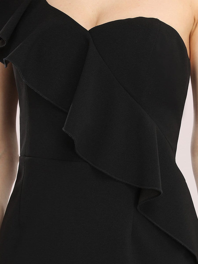 Sexy One Shoulder Short Mini Cocktail Dress With Ruffles-Black 5