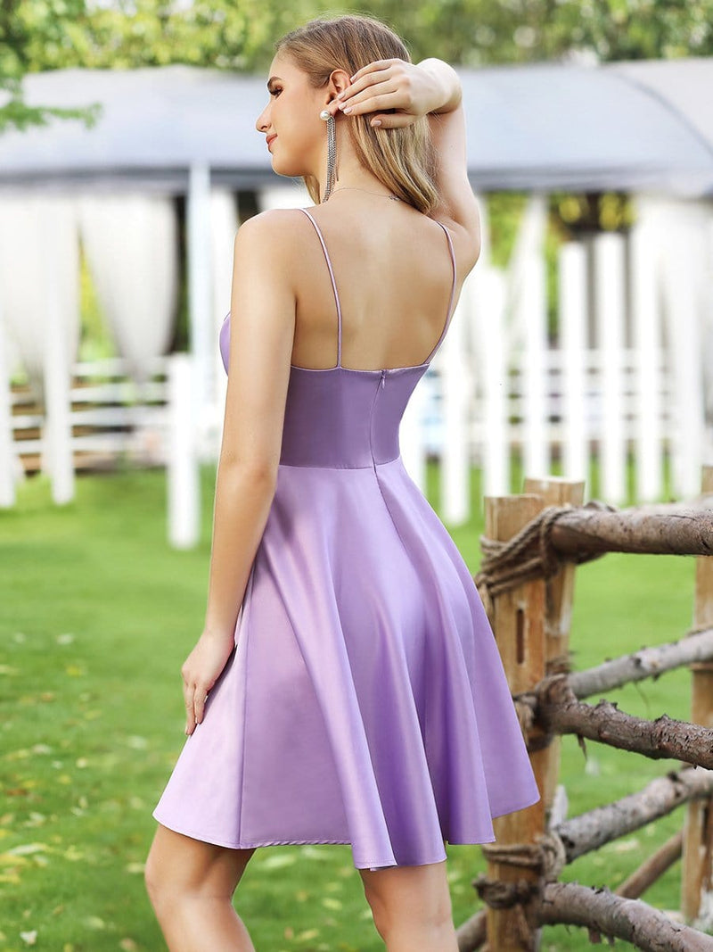 Simple Deep V Neck A-Line Cocktail Dresses Wit Spaghetti Straps-Lavender 2
