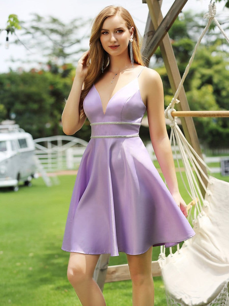 Simple Deep V Neck A-Line Cocktail Dresses Wit Spaghetti Straps-Lavender 3