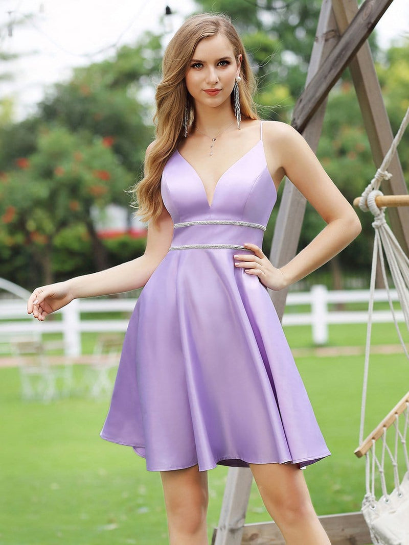 Simple Deep V Neck A-Line Cocktail Dresses Wit Spaghetti Straps-Lavender 1