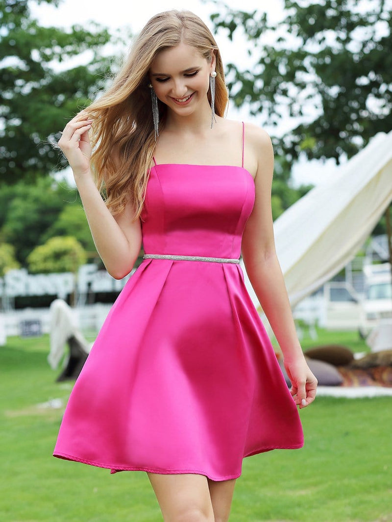 Women'S Sassy A-Line Cocktail Dress For Prom With Spaghetti Straps-Hot Pink 4