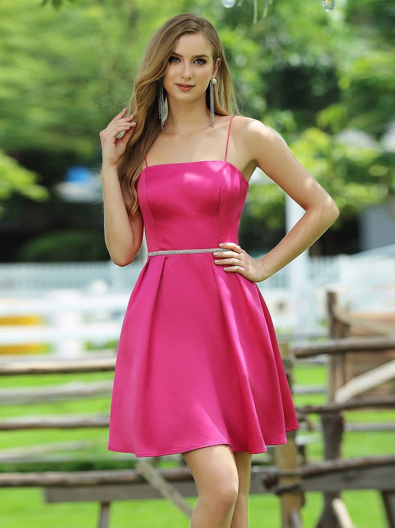 Women'S Sassy A-Line Cocktail Dress For Prom With Spaghetti Straps-Hot Pink 1