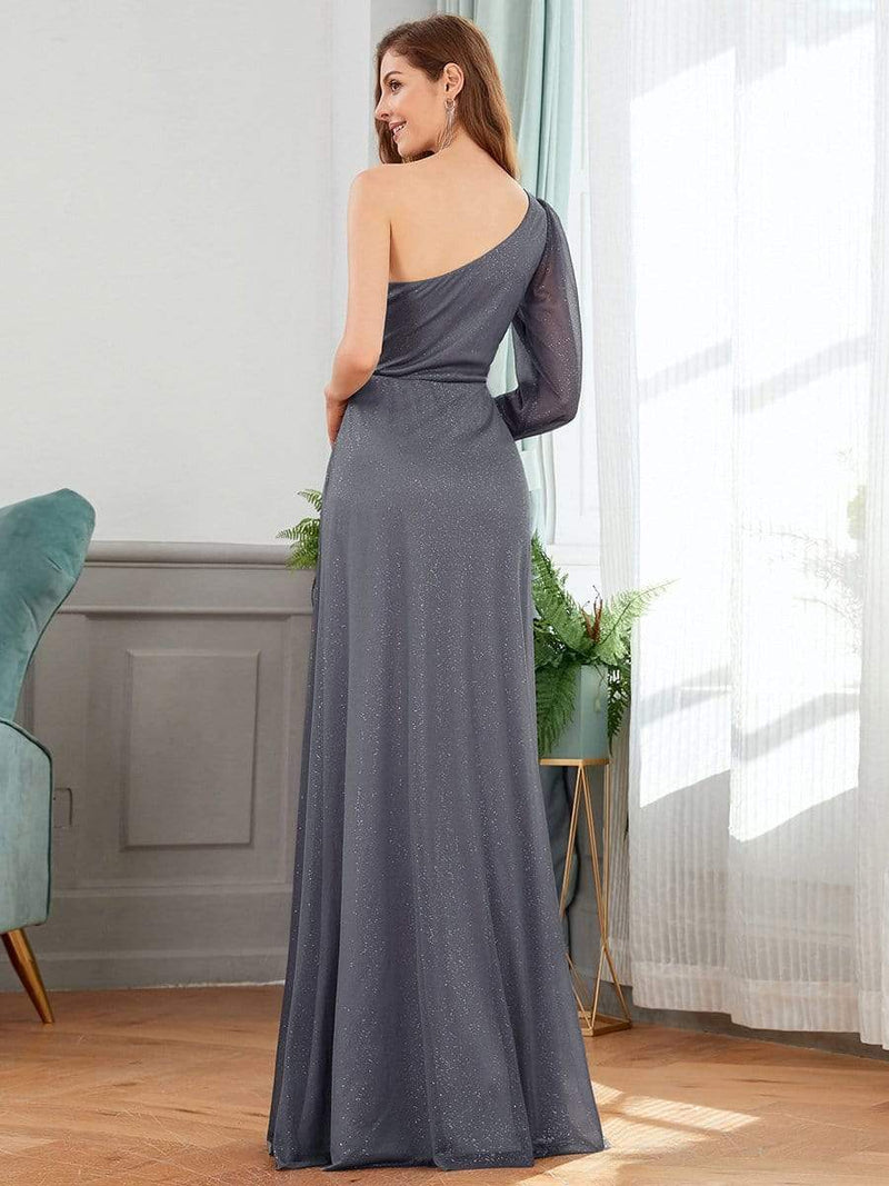 Charming One Shoulder Evening Dresses With Long Sleeve-Grey 2