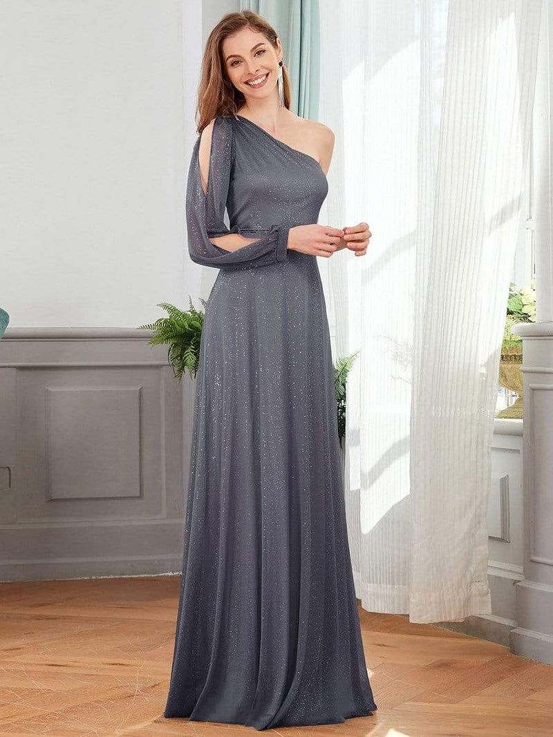 Charming One Shoulder Evening Dresses With Long Sleeve-Grey 3
