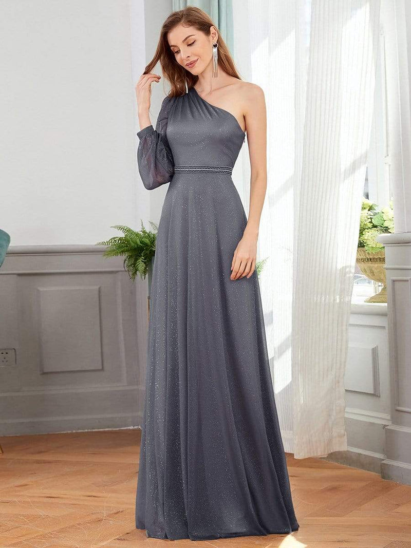 Charming One Shoulder Evening Dresses With Long Sleeve-Grey 4