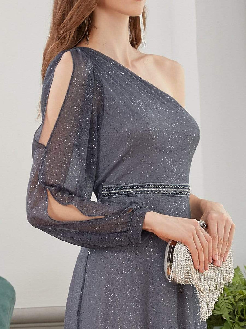 Charming One Shoulder Evening Dresses With Long Sleeve-Grey 5