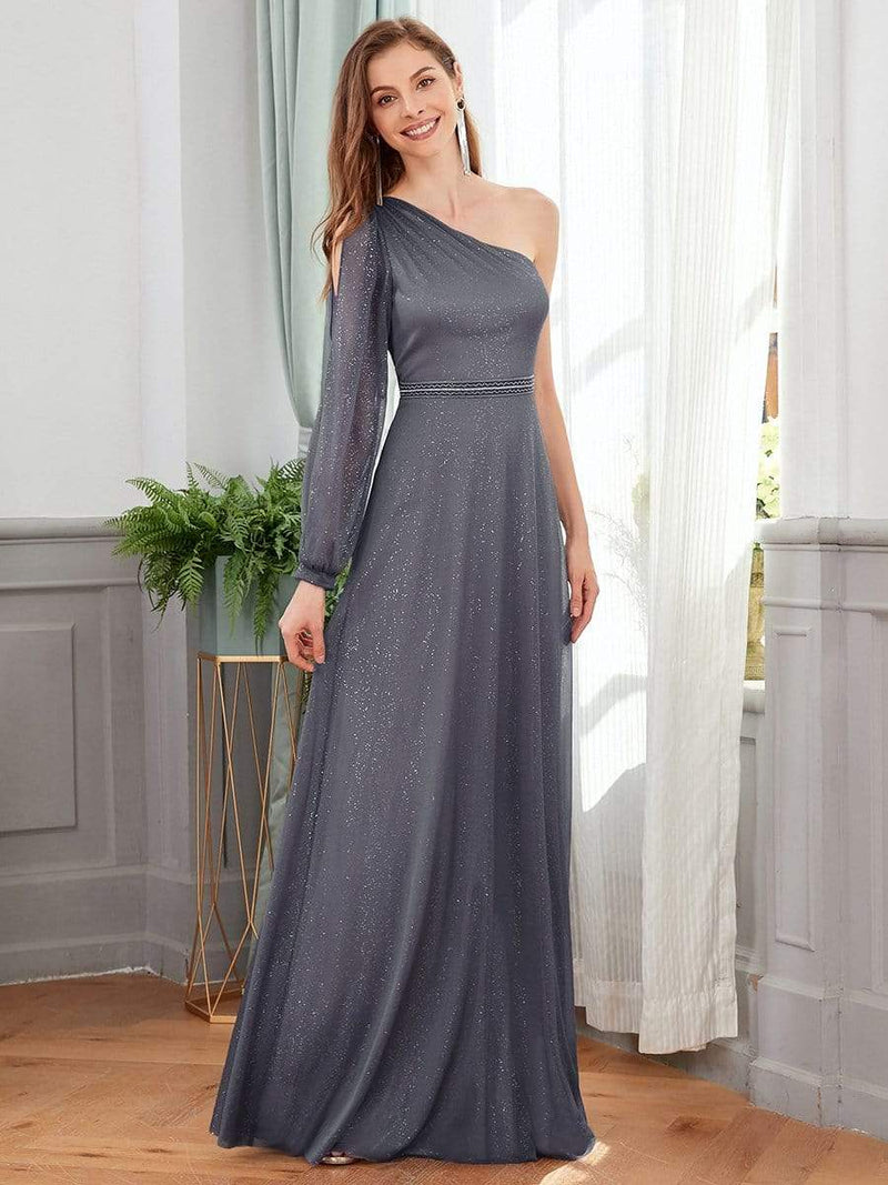 Charming One Shoulder Evening Dresses With Long Sleeve-Grey 1