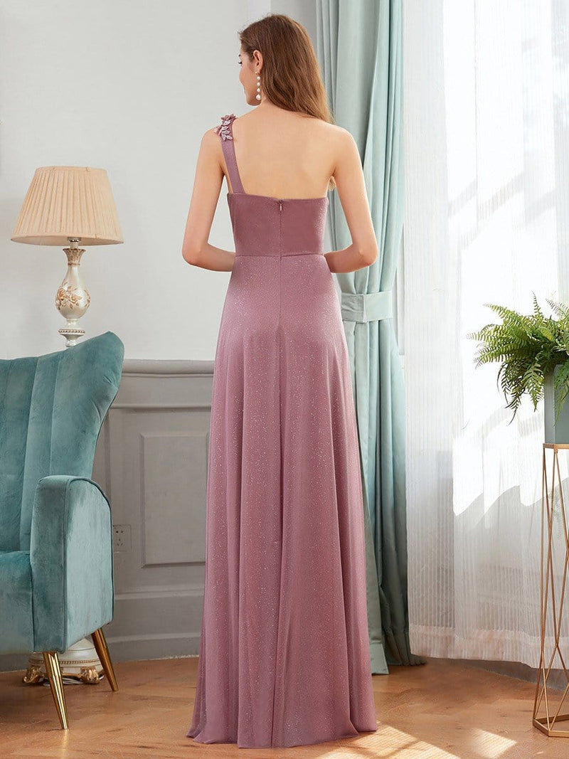 Glamorous One Shoulder Evening Dresses With Aplique-Purple Orchid 2