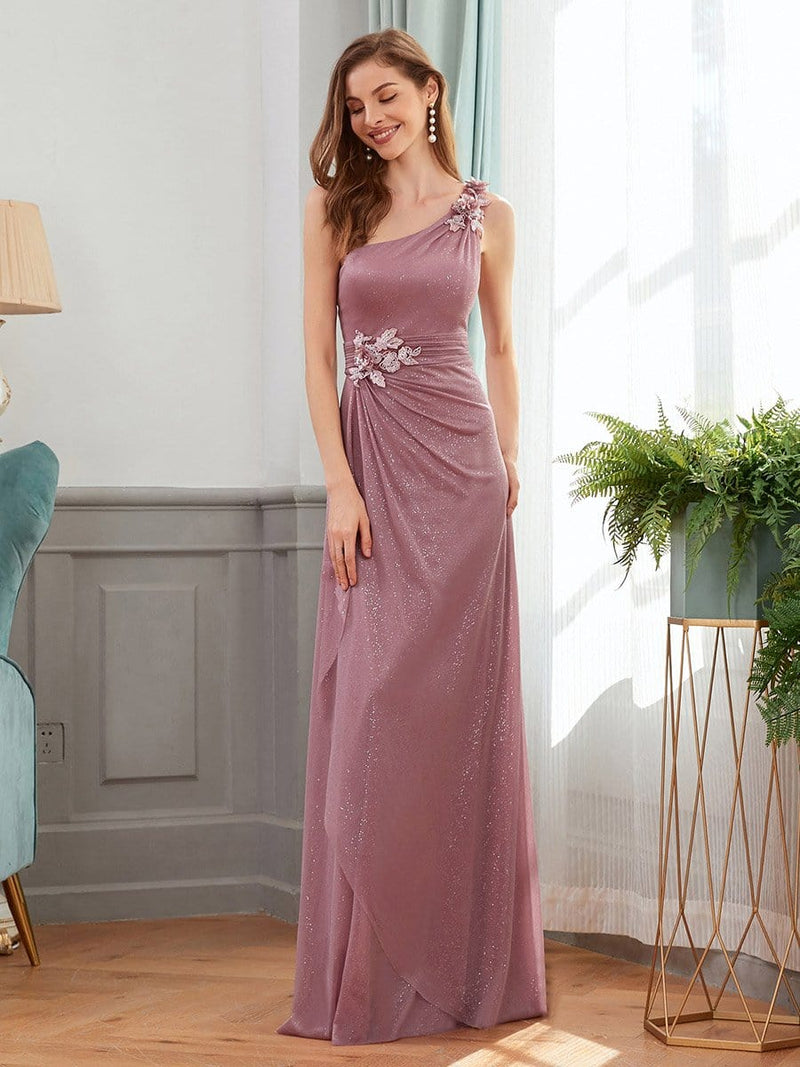 Glamorous One Shoulder Evening Dresses With Aplique-Purple Orchid 3