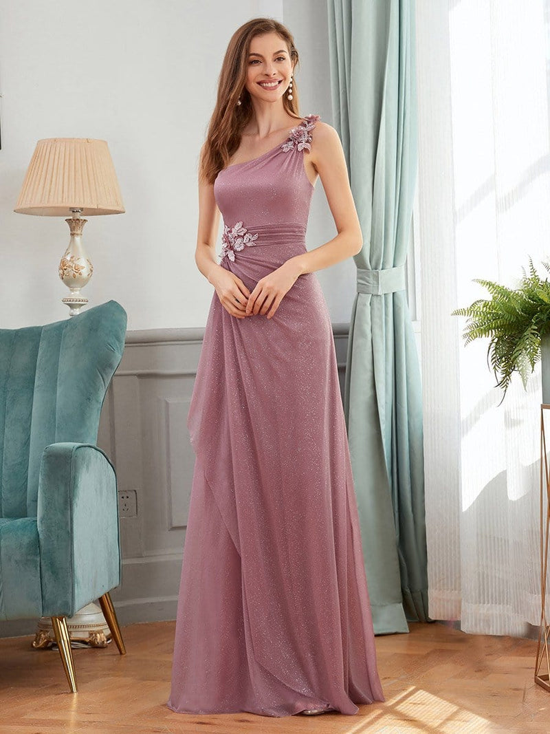 Glamorous One Shoulder Evening Dresses With Aplique-Purple Orchid 1