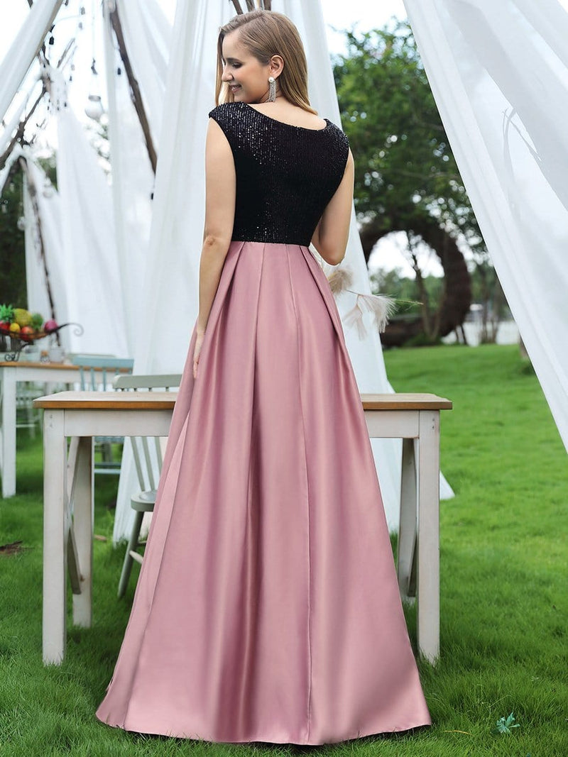 Classy V-Neck A-Line Evening Dresses With Tulip Sleeves-Purple Orchid 2