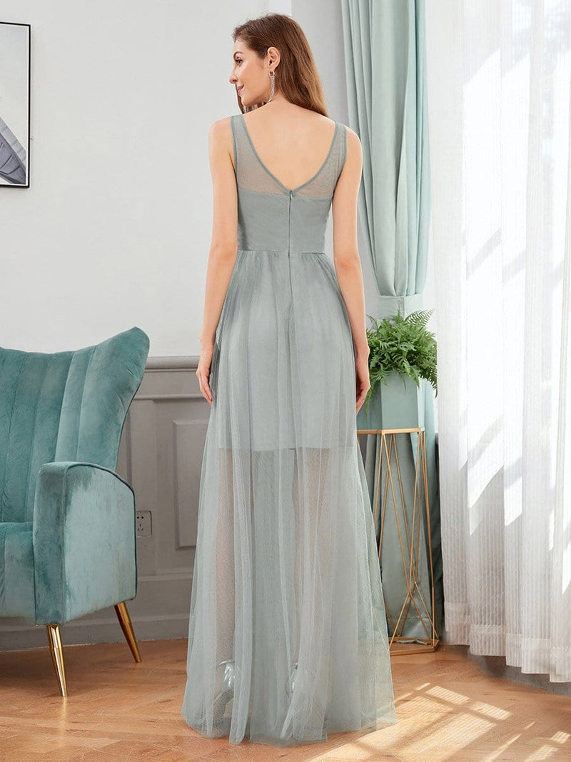 Classy V-Neck Tulle See-Through Evening Dresses-Grey 2