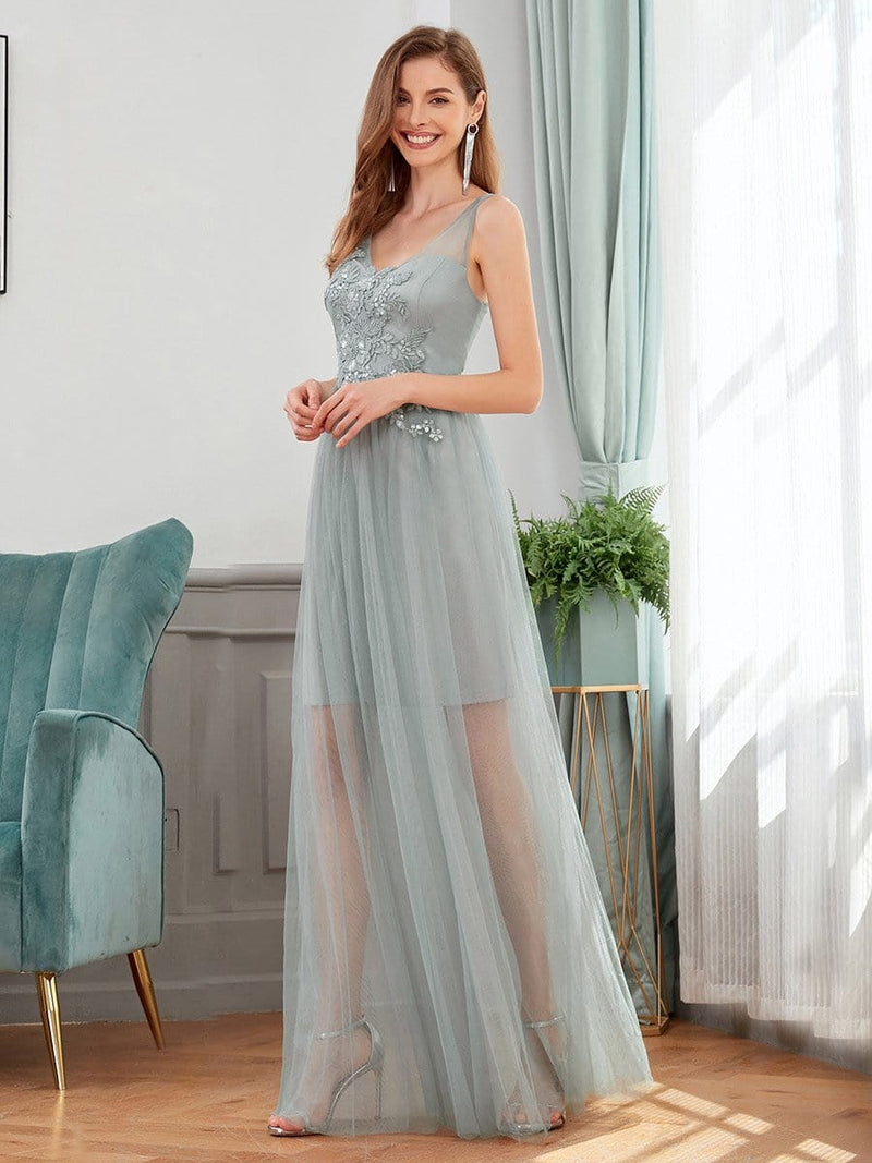 Classy V-Neck Tulle See-Through Evening Dresses-Grey 3