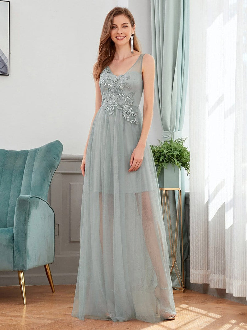 Classy V-Neck Tulle See-Through Evening Dresses-Grey 1