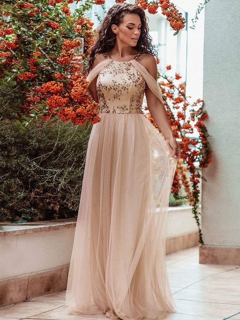 Sexy Halter Neckline Tulle Bridesmaid Dresses With Paillette-Blush 1