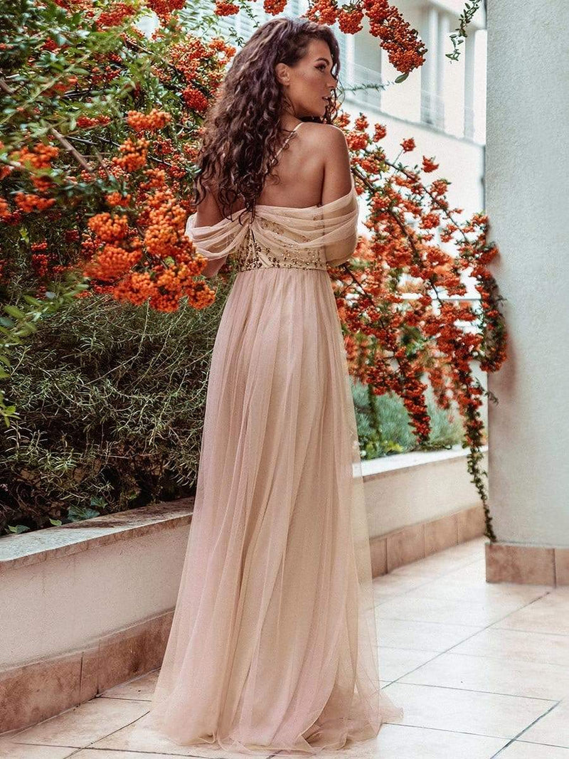 Sexy Halter Neckline Tulle Bridesmaid Dresses With Paillette-Blush 2
