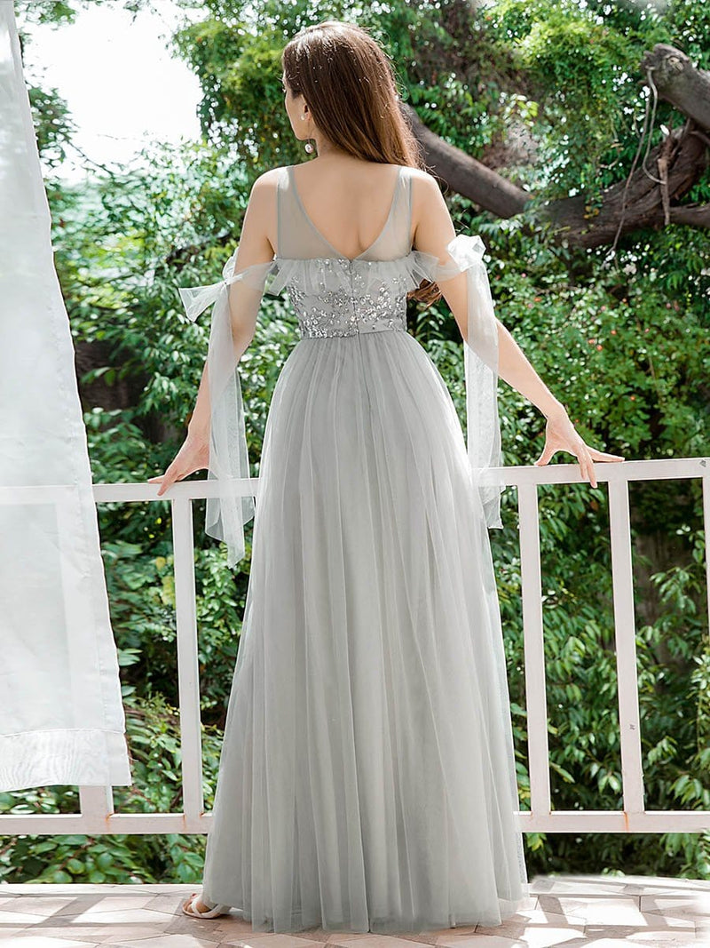 Sweet Tulle Bridesmaid Dresses With Flowy Ribbons-Grey 2