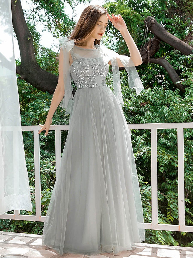 Sweet Tulle Bridesmaid Dresses With Flowy Ribbons-Grey 4