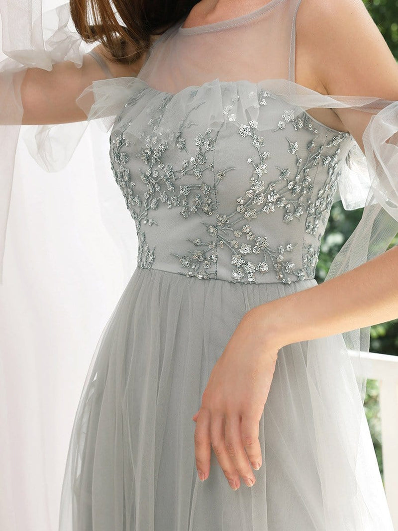 Sweet Tulle Bridesmaid Dresses With Flowy Ribbons-Grey 5