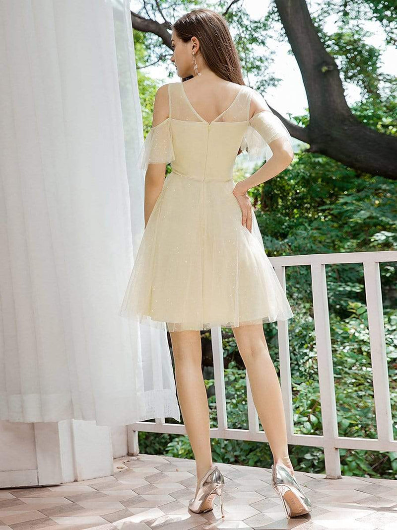 Gorgeous Round Neck Tulle Short Prom Dresses-Yellow 2