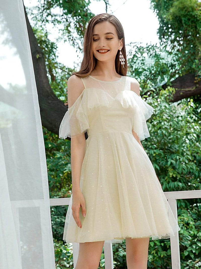 Gorgeous Round Neck Tulle Short Prom Dresses-Yellow 1