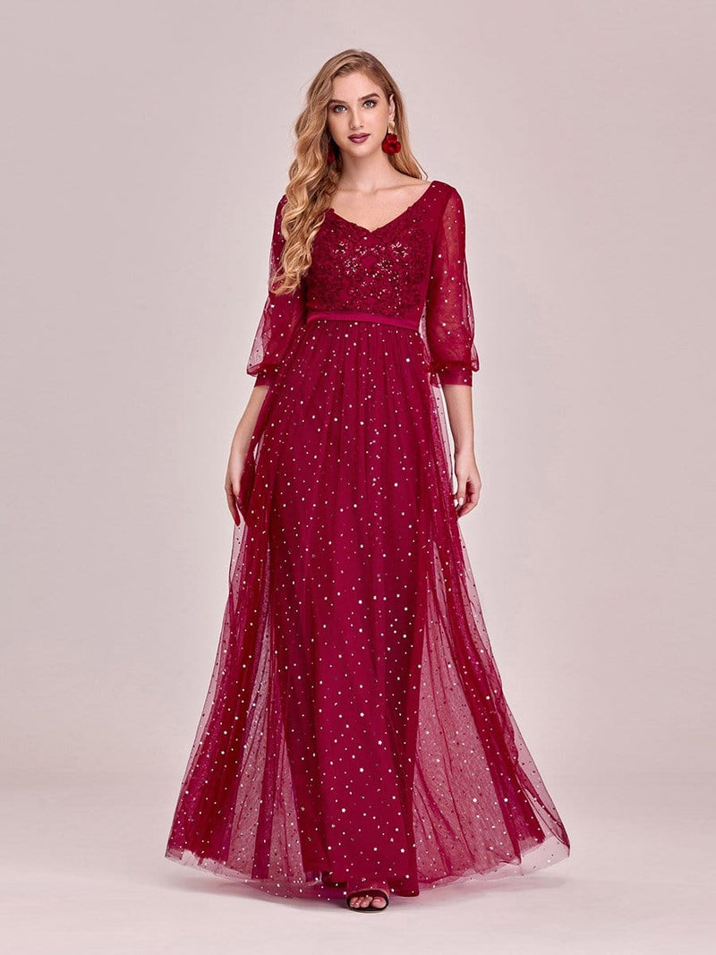 Elegant Maxi V Neck Tulle Evening Dress With Shiny Dot-Red 7