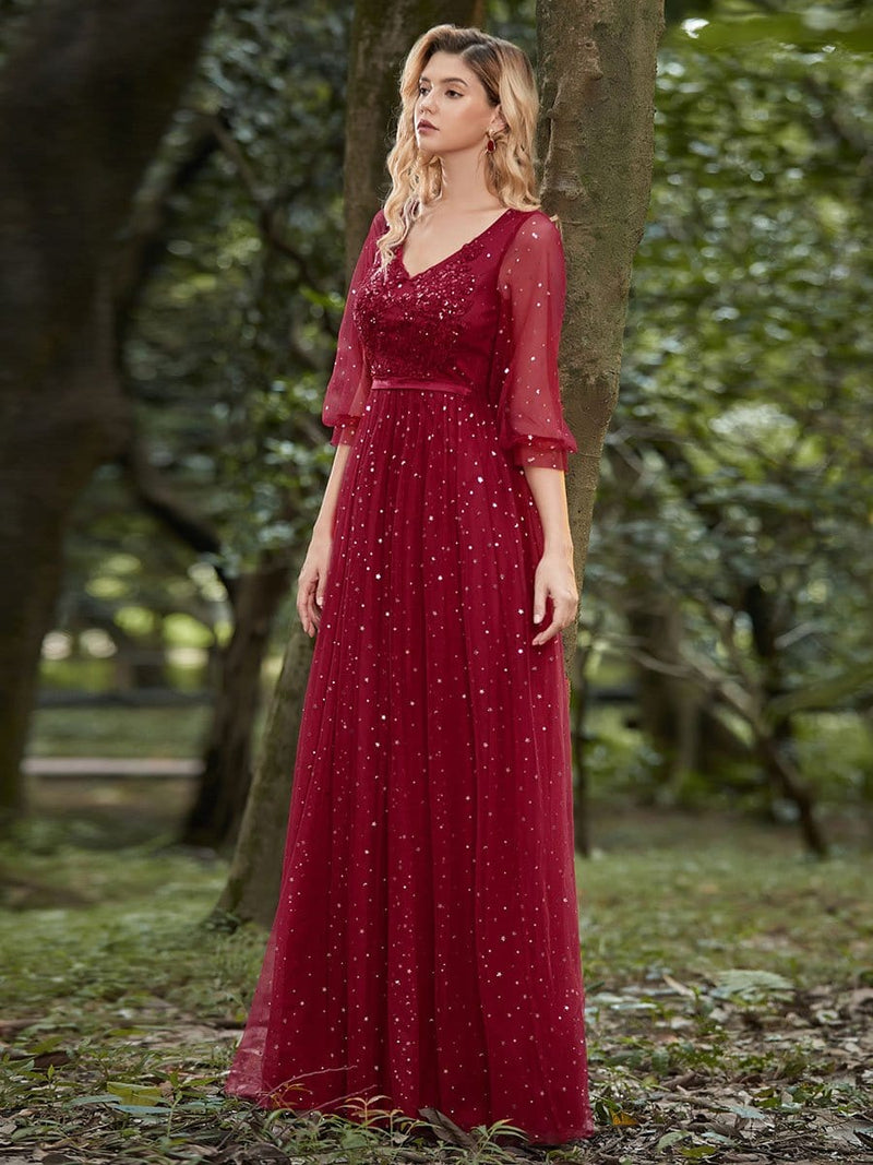 Elegant Maxi V Neck Tulle Evening Dress With Shiny Dot-Red 5