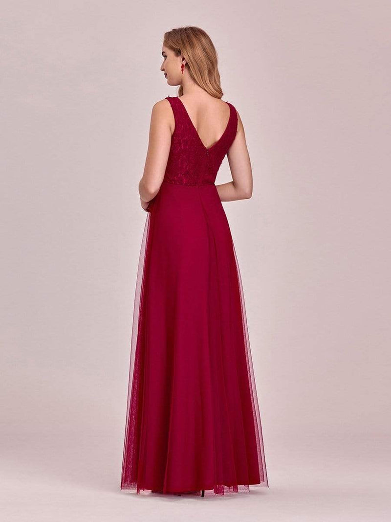 Women'S Stunning V Neck Tulle & Lace Evening Dress For Engagement-Burgundy 2