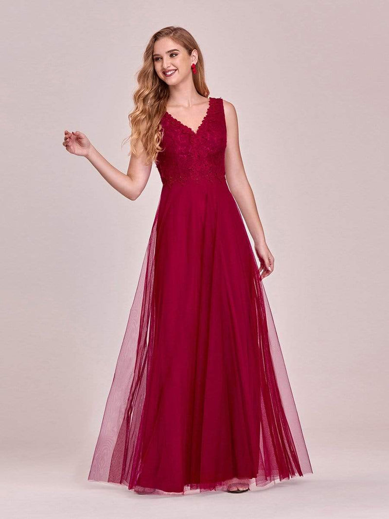 Women'S Stunning V Neck Tulle & Lace Evening Dress For Engagement-Burgundy 1