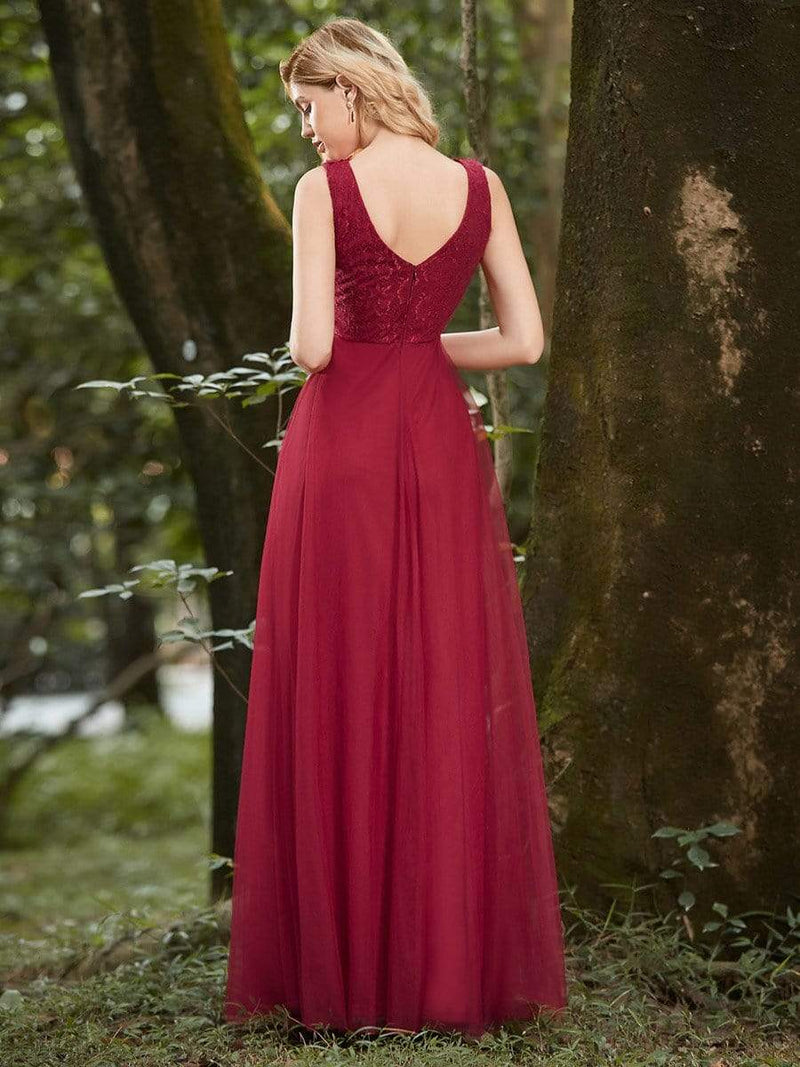 Women'S Stunning V Neck Tulle & Lace Evening Dress For Engagement-Burgundy 5