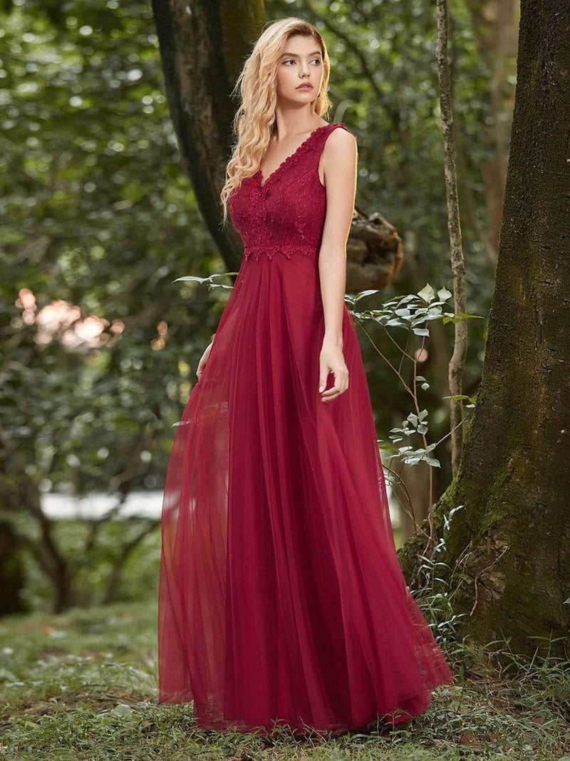 Women'S Stunning V Neck Tulle & Lace Evening Dress For Engagement-Burgundy 4