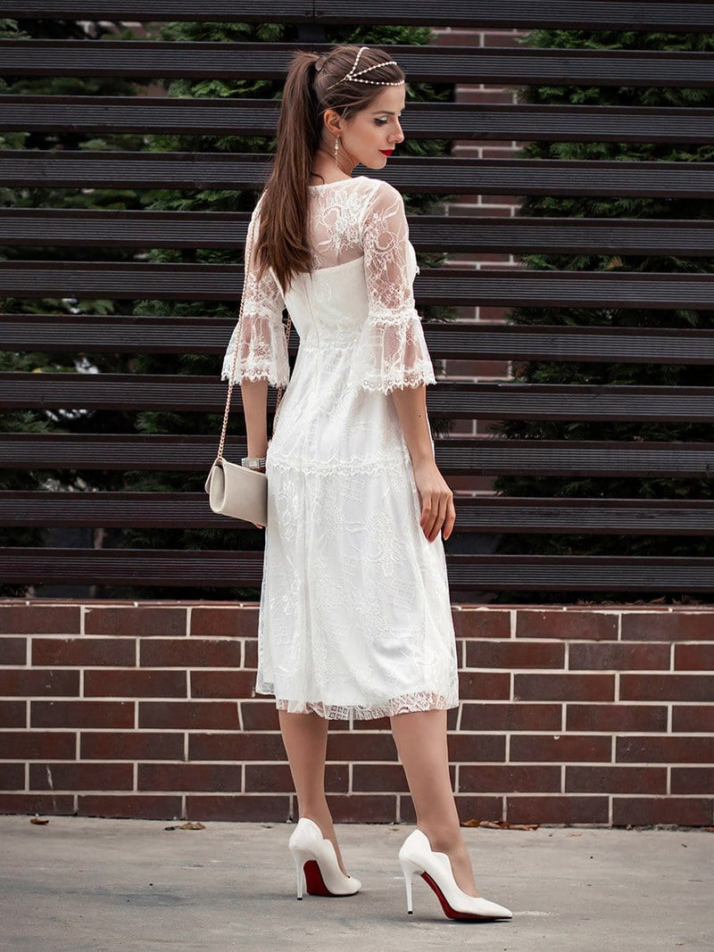 Women'S Simple Knee-Length Lace Causl Dress With 3/4 Sleeves-Cream 6