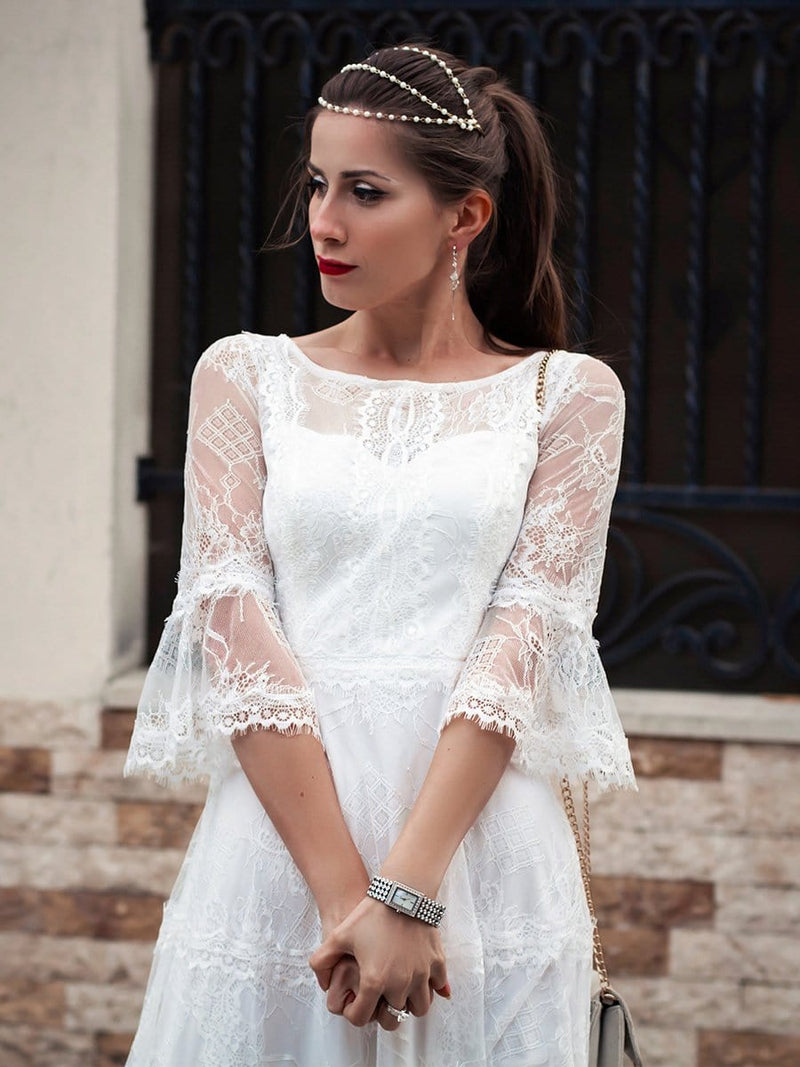 Women'S Simple Knee-Length Lace Causl Dress With 3/4 Sleeves-Cream 7