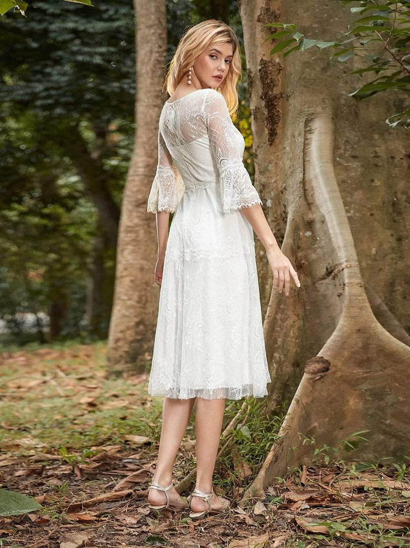 Women'S Simple Knee-Length Lace Causl Dress With 3/4 Sleeves-Cream 2