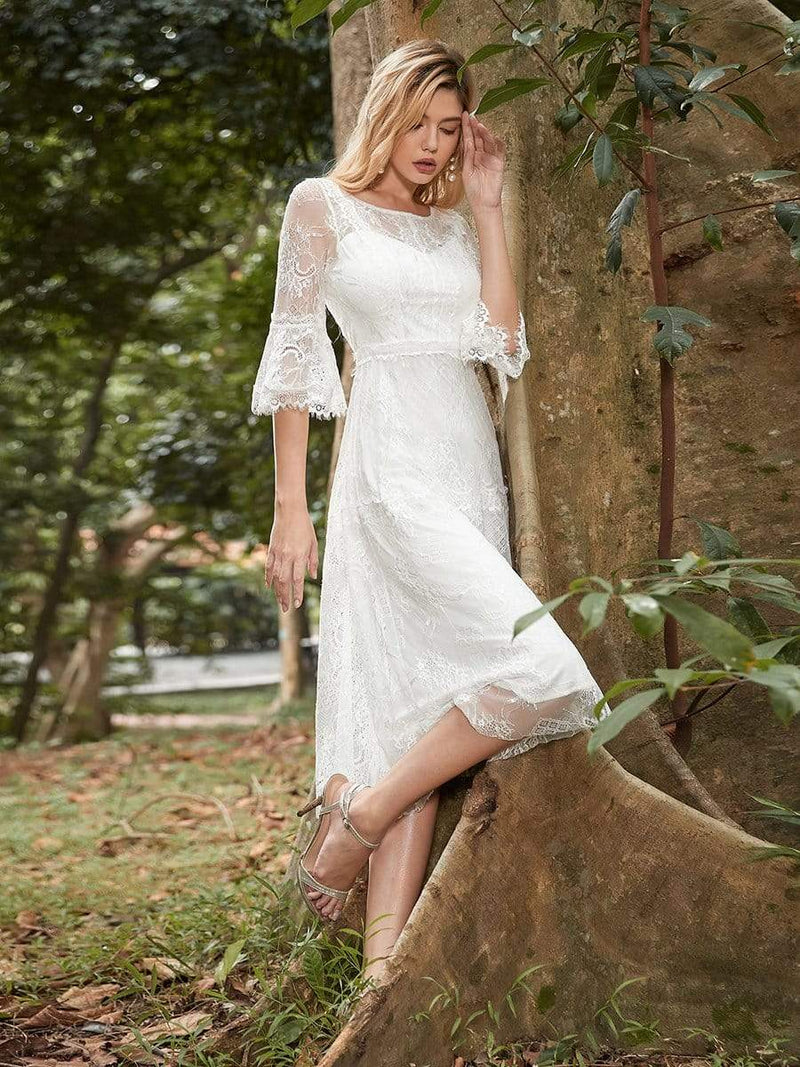 Women'S Simple Knee-Length Lace Causl Dress With 3/4 Sleeves-Cream 3