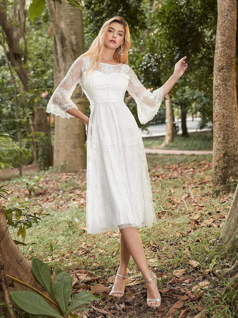 Women'S Simple Knee-Length Lace Causl Dress With 3/4 Sleeves-Cream 4