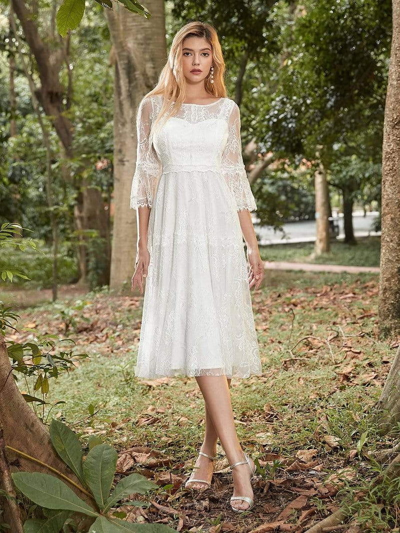 Women'S Simple Knee-Length Lace Causl Dress With 3/4 Sleeves-Cream 1