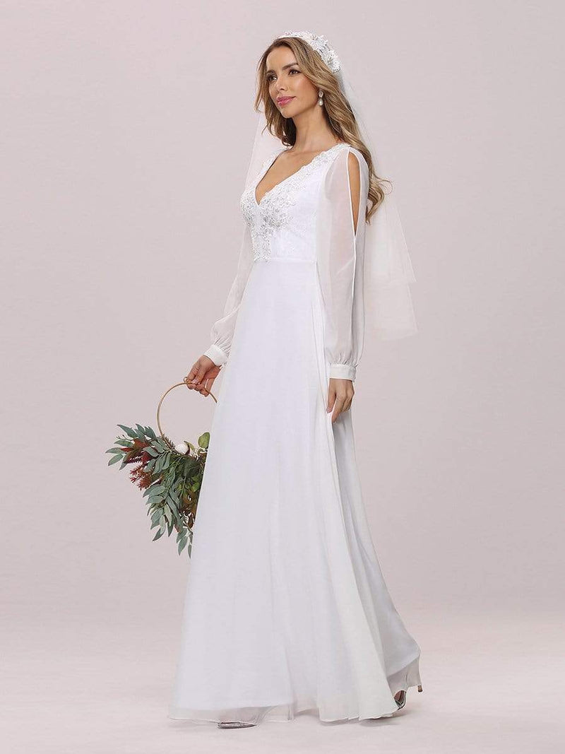 Women'S Long-Sleeved Chiffon Wedding Dress With Appliques-White 6