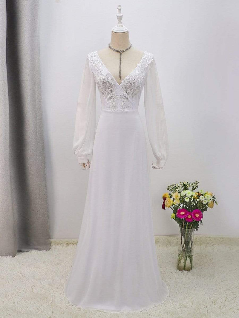 Women'S Long-Sleeved Chiffon Wedding Dress With Appliques-White 8
