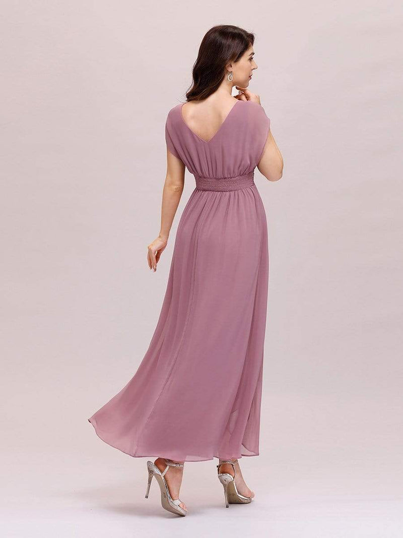 Simple V Neck Chiffon Cocktail Dress With Elastic Waist-Purple Orchid 2