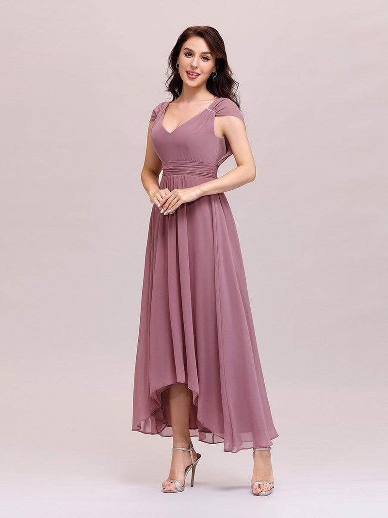 Simple V Neck Chiffon Cocktail Dress With Elastic Waist-Purple Orchid 3